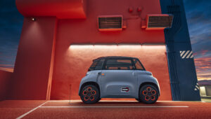 The two-seater Citroen Ami 100% electric available to 14 year old drivers