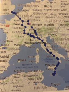 Tesla Model S 90KW 2016, William - Living with an EV: Road trip report Maidstone to Malta route map